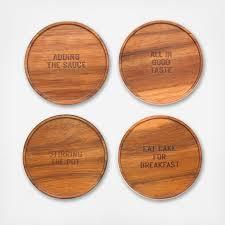all in good taste wood coaster set of   zola