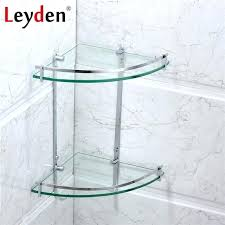 stainless steel glass shelf corner polished chrome wall mounted double tier bath holder and unit