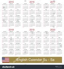 Calander Years English Calendar For Years 2015 2020 Stock Photo 221495350