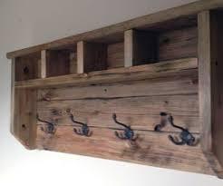 Reclaimed Wood Coat Rack Shelf Farmhouse Coat Hanger From Pallet Wood Coat hanger Pallet wood 6