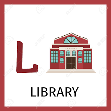 Alphabet Card Alphabet Card For Kids With Library Building Letter L Card Vector