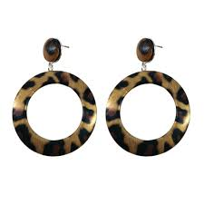product details of ueashion round circle leopard leather earrings exaggerated dangle women jewelry gift