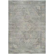 vintage silver 7 ft x 9 ft area rug silver