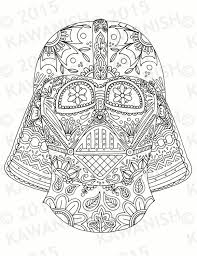 Day Of The Dead Darth Vader Mask Adult Coloring Page By Kawanish