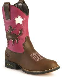 Roper Girls Light Up Pink Bronco Cowgirl Boots