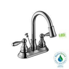 centerset 2 handle led high arc bathroom faucet