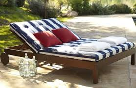 phf2016 teak outdoor ham double chaise lounge chair