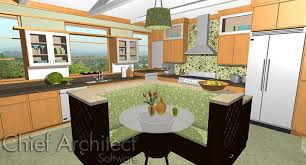 rendering of 3d kitchen design with chief architect design
