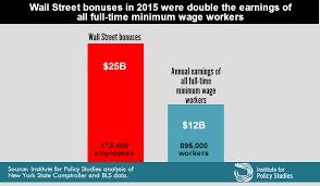 off the deep end the wall street bonus pool and low wage workers wall street bonus pool min wage workers 2016