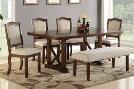 poundex f2398 1569 1548 6 pc bridget ii collection dark cherry finish wood dining table set with padded seat chairs and bench