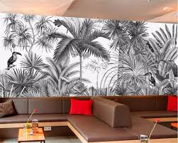 European Retro Hand Painted Black White Jungle Decorative Background Wall Painting