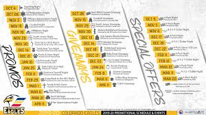 Colorado Eagles Seating Chart Promotions Schedule Colorado Eagles
