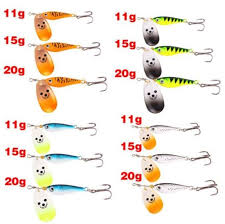 11g 15g 20g Spinner Sinking Metal Fishing Tackle With Vmc Treble Hooks