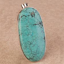 extra large sized turquoise pendant crafted in fine sterling silver