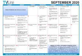 fall tv premiere dates 2020 calendar