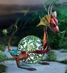 solar baby dragon garden statue wind