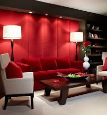 Red Wall Living Room Decorating Crimson Red Wall Color With Contemporary Floor Lamps For Modern