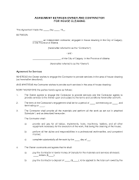 cleaning contract template printable documents house cleaning contract
