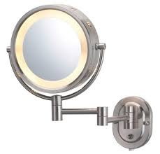 jerdon hl65n 8 inch lighted wall mount makeup mirror with 5x magnification nickel finish