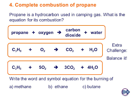 complete combustion of propane