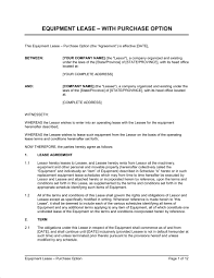 equipment lease agreement with option to purchase early lease termination letter template