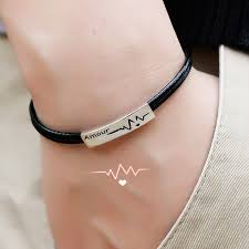coise couple bracelets beat of my heart tag bracelet in 925 sterling silver double red leather bracelet matching couple jewelry set for him and her