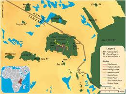 map of mount kilimanjaro