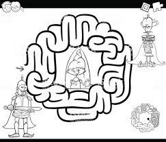 Fantasie Doolhof Kleurplaat Stockvectorkunst En Meer Beelden Van