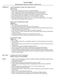 Warehouse Clerk Resume Warehouse Clerk Resume Samples Velvet Jobs 7