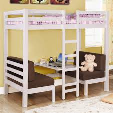 f charming space saver wooden bunk bed in white finishing with ladder and desk underneath as well as double brown fabric sofa 2232x2232 charming kids desk