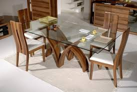 dining room dark brown aluminium stained dining table top borders modern rectangular glass dining table design