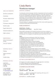 test manager cv warehouse manager cv manager resumes samples