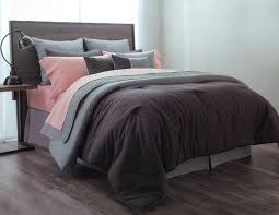 sobel linen comforter set fall brown shades on a bed