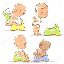 Set Of Cute Little Babies Sitting On Potty Potty Training