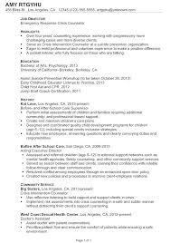 chronological resume sample emergency response crisis counselor child development resume