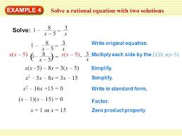 example 4 solve a rational equation with two solutions 1 8 x