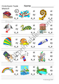 Worksheets are hi there today we are going to look at the ai you, ai, phonics ai vowel blend words more teaching tools at rain, ay ai work, ai ay y igh phonics readers, ai words missing letters, racing. Circle Sound Puzzle Phonics The Ai Sound Esl Worksheet By David Lisgo