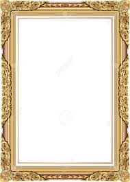 Gold Photo Frame With Corner Line Floral For Picture Vector