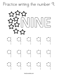 Filling in the missing even numbers; Practice Writing The Number 9 Coloring Page Twisty Noodle