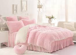 Solid Pink and Creamy White Color Blocking Fluffy 4 Piece Bedding