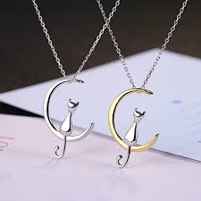 details about fashion cat moon pendant women long chain choker necklace wedding xmas jewelry
