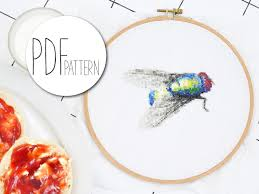 Modern cross stitch pattern HOUSE FLY realistic insect hand embroidery  pattern counted pet cross stich animal cool crossstich tutorial