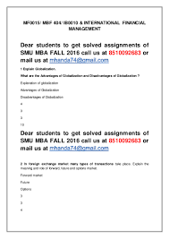 international finance assignment global business strategy  mf international financial management th sem mba fall sm international marketing research assignment sample