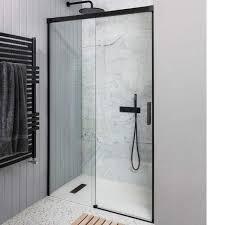 crosswater design matt black 8mm easy clean soft close sliding shower door optional side panel