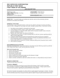 Bank Teller Responsibilities Resume Bank Teller Job Description For