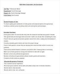 professional waiter job description template in word waiter job description