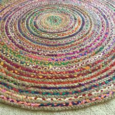 braided cotton rug round rag rug chic hippie area rug 4 circle colorful jut cotton braided braided cotton rug