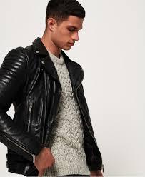 mens black leather jacket knitwear