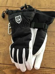 Hestra Army Leather Heli Ski Gloves Black White Size 7 Medium Female