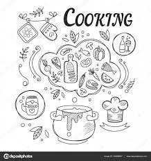 調理食品準備手描き黒と白のイラストの材料とツールのセット ディナー